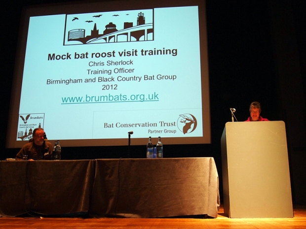 "The stage where the talks took place, with a large digital screen behind for slides.  Slide reads ""Mock Bat Roost Visit Training, Chris Sherlock, Training Officer, BrumBats"""