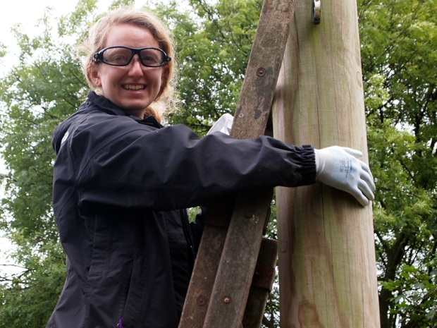 Rachel checks bat boxes